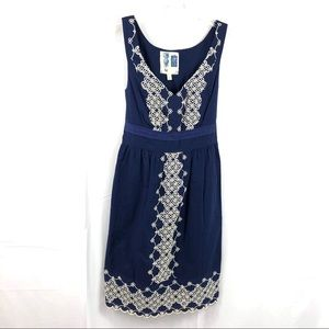 Anthropologie Navy Embroidered Sleeveless Dress XS